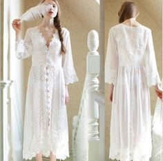 Fee Shipping Europe and USA Style Long  Fine Chiffon Cardigan Pajamas Women Sexy Trans Nightgown High Quality Lady dress White #>=#>=#>=#>=#> Click on the pin to check out discount price, color, size, shipping, etc. Save and like it!