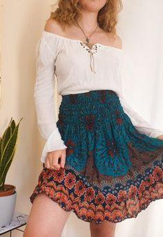 Bohemian summer skirt, hippie fashion ideas Hippy Fashion, 70s Fashion, Fashion Looks, Fashion Outfits, Fashion Ideas, Cute Teen Outfits, Swag Outfits, Pretty Outfits, Hippie Style Clothing