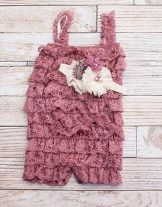 Dusty Mauve Petti Lace Romper M with optional by SoTweetDesigns