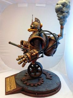 Steampunk version of Gizmoduck robot suit from Disney's animated television series DuckTales. Beautiful GIZMOduck sculpture made by American artist Tim Wollweber. Steampunk Couture, Steampunk Fashion, Steampunk Cosplay, Steampunk Illustration, Seductive Photos, Steampunk Crafts, Arte Robot, Duck Tales, Steampunk Accessories