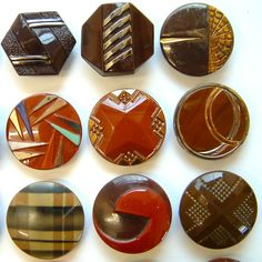 30 Vintage Large Dark Art Deco Glass Buttons, Shapes, Bird, Check, Candy Stripe