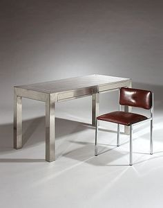 A STAINLESS STEEL DESK BY MARIA PERGAY, CIRCA 1970