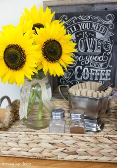 Adorable coffee station with sunflowers for fall