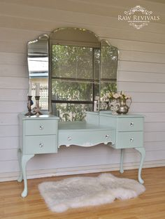 vintage dressing table painted in pastel mint and white accents added to the center drawer. www.rawrevivals.com.au
