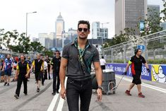David Gandy Photos Photos - In this handout photo provided by Jaguar Racing, model David Gandy visits the Panasonic Jaguar Racing team during the Hong Kong ePrix, first round of the 2016/17 FIA Formula E Series on October 9, 2016 in Hong Kong. - Jaguar Racing - Formula e Grand Prix of Hong Kong