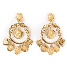 DOLCE & GABBANA dropped loop earrings ($1,095) ❤ liked on Polyvore featuring jewelry, earrings, accessories, brinco, gold tone earrings, dolce gabbana jewelry, filigree earrings, brass jewelry and earrings jewelry