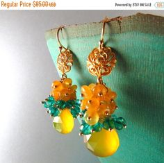 25% Off Yellow Chalcedony and Peacock Teal Blue Quartz Gold