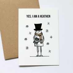 Robot Winter Solstice Card - Atheist Card - Funny  A lovingly illustrated greeting card of a robot that isnt too keen on the holidays but will most