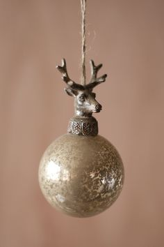 glass ball with deer christmas ornament