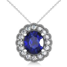 Allurez Blue Sapphire & Diamond Floral Oval Pendant 14k White Gold... ($2,100) ❤ liked on Polyvore featuring jewelry, necklaces, diamond flower pendant, diamond pendant, 14 karat gold necklace, 14k diamond pendant and blue sapphire necklace