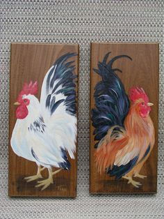 Custom Chicken portrait plaques by JeanosArt on Etsy Chicken Pictures, Chicken Kitchen, Study Pictures, Etsy Business, Mermaid Art, Beach Themes, Projects To Try, Arts And Crafts, Hand Painted