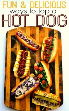 Hot dogs are famous foods all over the world. If you are a fan of them, you will be excited with this post: 26 hot dog recipes that you must try. You'll get all types of hot dog that you could th Hot Dogs, Burger Bar, Hot Dog Toppings, Hot Dog Bar, Hamburgers, Wing Recipes, Love Food, Tacos, Cooking Recipes