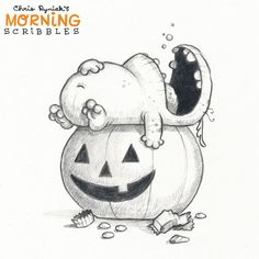 Chris Ryniak:「 The Morning after Halloween. This is an old spooky scribble from a few years back. I'll be posting some stuff from the archives while… 」 Cute Monsters Drawings, Cartoon Monsters, Little Monsters, Cartoon Drawings, Easy Drawings, Monster Sketch, Doodle Monster, Monster Drawing, Halloween Noir