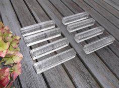 repose couteaux en verre biseauté vintage  8 repose couteaux