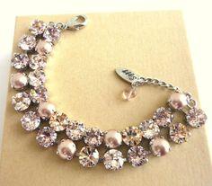 Swarovski crystal bracelet double strand vintage by SiggyJewelry, $82.00