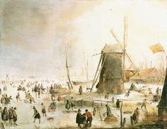 Hendrik Averkamp - Winter landscape with skate drivers for a windmill