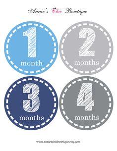 Blue Grey Baby Boy monthly stickers, Miletsone stickers, Baby Boy stickers, Bodysuit monthly stickers, Baby shower gift, Newborn stickerA151 by AnniesChicBowtique on Etsy