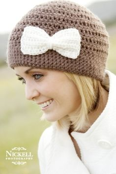 Crochet Hat Pattern with Bow, only I want a brim. Maybe the bow trims the brim in the same color.