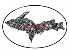 Upper-Peninsula-Michigan-UP-Oval-Vinyl-Decal-Sticker-6x4-Yooper  michigan superior upper peninsula yooper yoopers da yoop paisley mandala floral car truck decal helmet