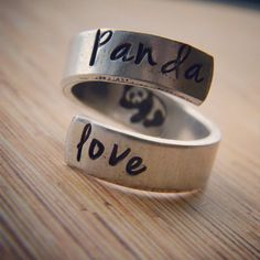 Panda love hand stamped aluminum spiral  ring by LindaMunequita So so cute i want it!!! <3 <3 :)                                                                                                                                                      More