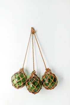 Set of 3 Vintage French Hand Blown Green Glass and Rope-Fishing Floats Buoys-Pond Water Art Vintage Green Glass Fishing Floats Buoys Balls by Sansprix on Etsy