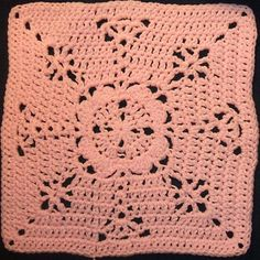 "Pretty in Pink Square - Free 12"" crochet square pattern by April Moreland"