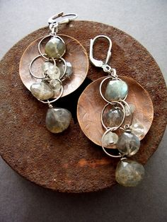 I brt my aunt patsy could make these!,,, Gypsy earrings with Labradorite , Copper and sterling silver- dna jewelry designs Metal Jewelry, Pendant Jewelry, Jewelry Art, Beaded Jewelry, Jewelry Accessories, Jewelry Design, Unique Jewelry, Jewelry Crafts, Jewelry Ideas