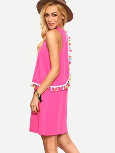 SheIn offers Hot Pink Sleeveless Tassel Shift Dress & more to fit your fashionable needs. Fashion Outfits, Fashion Tips, Fashion Design, Fashion Trends, Dress P, Dresses Online, Hot Pink, Tassels, Summer Dresses