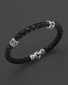 Scott Kay Men's Woven Black Leather Bracelet with Two Sterling Sil