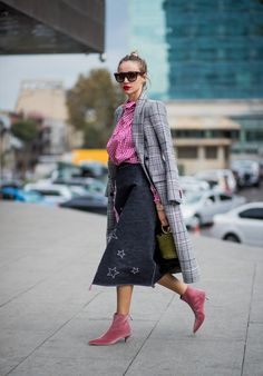 STYLECASTER | Non-Basic Ankle Boots | Street style influencer wearing pink velvet ankle boots