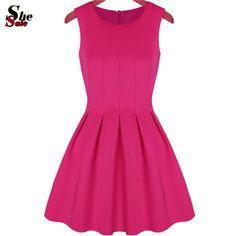 Cheap Verano 2015 vestido de verano para mujer ropa últimos diseños mujeres de moda ronda rosa cuello plisado de la llamarada vestido, Compro Calidad Vestidos directamente de los surtidores de China:                          Color:  Rosa             Material:  Mezclas de algodón             Estilo:  Calle