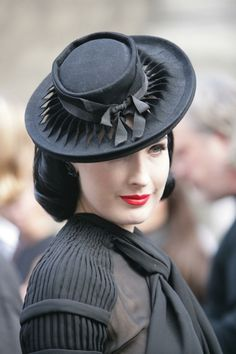d8a36c431237 Fancy style boater hat with the buckram showing through twisted strips of  the fabric (felt  Worn by Ditta Von Tease! Ciara · Dita Von Teese