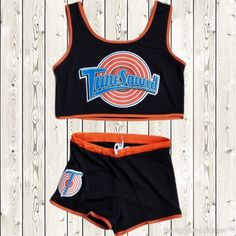 Space Jam Tune Squad Ladies Set Girls Jersey   Shorts Stitched Retro Black  New b9320474d