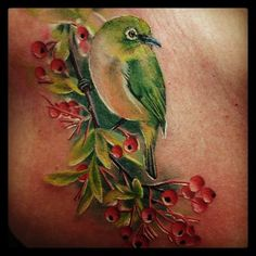 Japanese White-Eye Tattoo by Caryl Cunningham, Tattoo Artist/Painter in the #Detroit area