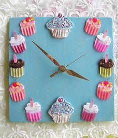 Cupcake Ceramic Clock Blue with Chocolate by Angelheartdesigns, $38.00