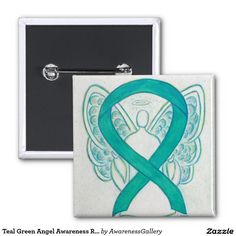 Teal Green Angel Awareness Ribbon Art Lapel Pin - Awareness pin features the painting of an emerald green awareness ribbon angel on a custom button pendant. Teal green awareness angel ribbon art lapel pins or buttons can be customized with personalized messages to make great cause buttons for fundraiser pendants.