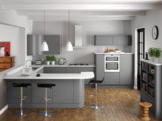grey matt curved handleless kitchen - Google Search