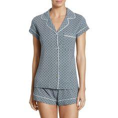 Eberjey Sleep Chic Short Pajamas Set (2,340 INR) ❤ liked on Polyvore featuring intimates, sleepwear, pajamas, short sleepwear, short pajamas, short pjs, eberjey and eberjey pajamas