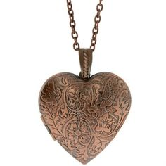 """1.5"""" Bronze Color Heart Shape Flower Engraved Locket Pendant and 28 Inch Chain Gem Stone King, http://www.amazon.com/dp/B00723VEW6/ref=cm_sw_r_pi_dp_naUXqb0SW7RNM.................<3"""