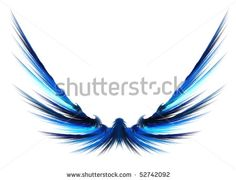 abstract eagle wing | Fractal rendering of a beautiful abstract set of wings. - stock photo