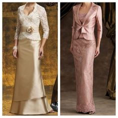 I like these two dresses. One for mother of bride and the other for mother of groom. Maybe make colors a bit darker. @Gracia Gomez-Cortazar Saldivar what do you think?  #1
