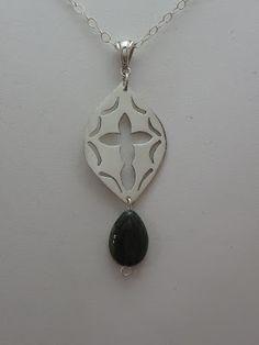 """Savannah"" - Sterling Silver (mirror finish) with Indian Aventurine (very dark green stone)."