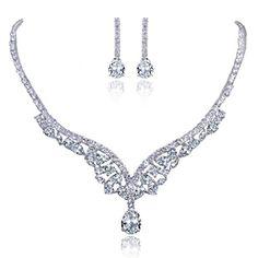 Ever Faith CZ österreichischen Kristall elegant Braut Träne Form Halskette mit Ohrring Anhänger Schmuck-Set klar Silber-Ton N02928-1 Ever Faith http://www.amazon.de/dp/B00ISQ85OG/ref=cm_sw_r_pi_dp_sKXVvb0SA9GWM