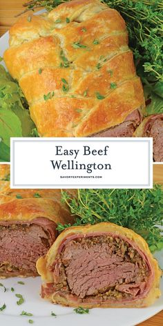 Beef Wellington is tender beef tenderloin smothered in Dijon mustard mushrooms shallots and prosciutto before being baked in a delicate puff pastry. Prosciutto, Beef Recipes, Cooking Recipes, Game Recipes, Recipies, Dinner Recipes, Beef Tips, Salad Recipes, Beef Tenderloin Recipes