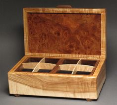 Walnut Burl Jewelry Box with Secret Compartment by watswood, $595.00