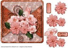 Peach Posy Mock Wrap Card Front