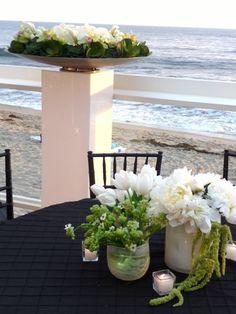 #weddingflowers #weddingreception #tablearrangement #receptionflowers #tablecenterpieces #outdoorreception #beachwedding #summerwedding #simple #ocwedding #ocflorist #allwhiteflowers #green #black #ovular