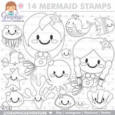 Mermaid Stamp COMMERCIAL USE Digi Digital Image Party Digistamp Coloring Page Graphic Stamps