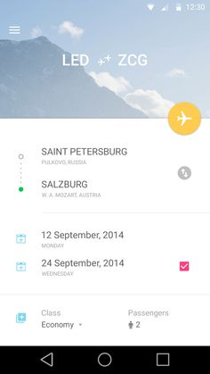 airplane app travel page ui design