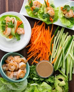 Shrimp Lettuce wraps with avocado, cucumber, carrot and cilantro. P.S this peanut sauce is Boss!